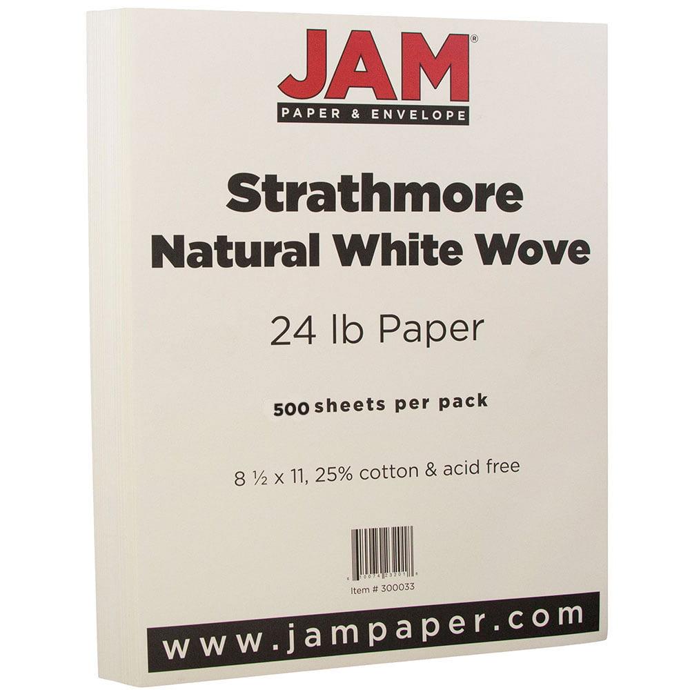 "JAM Paper Strathmore Paper, 8.5"" x 11"", 24 lb Strathmore Natural White Wove, 500 Sheets/Ream"