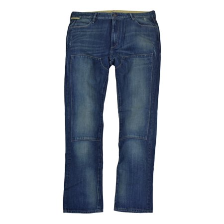 Hickey Freeman Mens Premium Distressed Denim Jeans, Wharf Blue