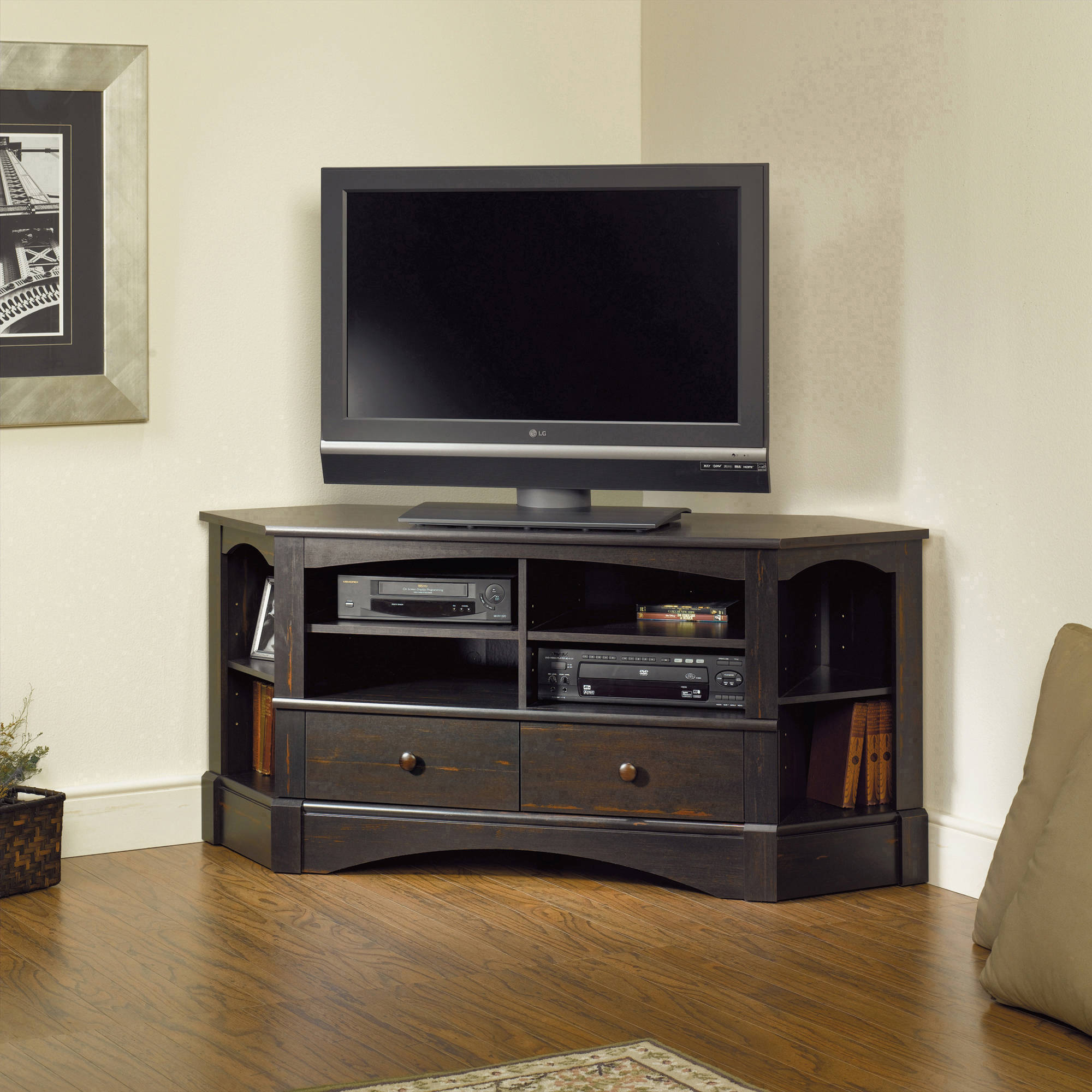 """Sauder Harbor View Corner Entertainment Credenza for TVs up to 42"""" in Multiple Finishes"""