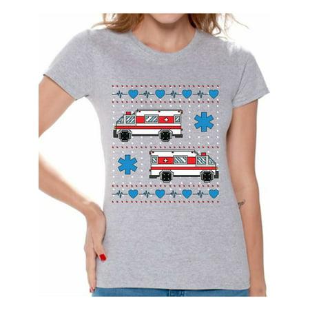 Ugly Christmas Outfits (Awkward Styles Christmas Ambulance Truck Tshirt for Women Paramedic Christmas Shirts Funny Xmas Gifts for Her EMT Ugly Christmas T Shirt Christmas Party Outfit Paramedic Ambulance Shirt for)