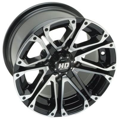4/156 STI HD3 Alloy Wheel 12x7 4.0 + 3.0 Black Machined for Polaris RANGER 500 H.O. - 2010 Alloy Wheel