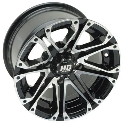 4/110 STI HD3 Alloy Wheel 12x7 5.0 + 2.0 Black Machined for Yamaha GRIZZLY 700 4x4 2007-2018 ()
