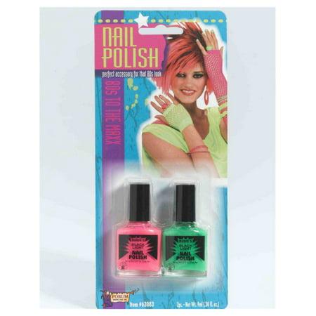 80s Rock Star Punk Princess Neon Green Pink Costume Accessory Nail Polish