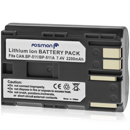 Fosmon Premium BP-511 BP-511A BP511 BP511A Lithium Ion Battery Pack for Select Canon Digital Cameras and Camcorders ()