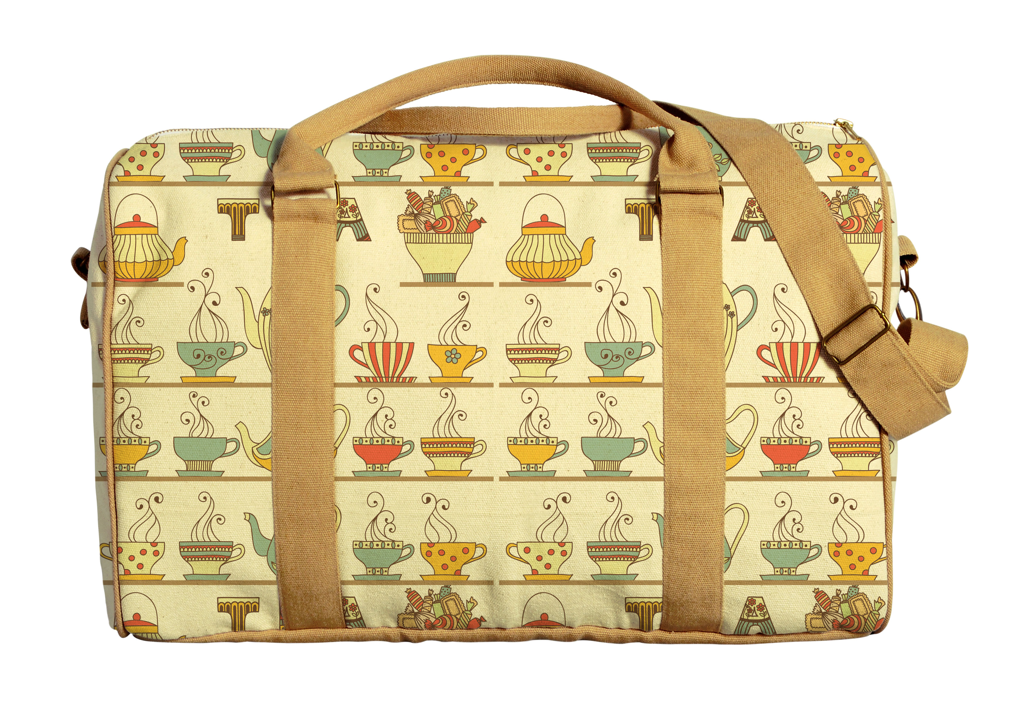 Tea Pots Pattern-3 Printed Oversized Canvas Duffle Luggage Travel Bag WAS_42 by Vietsbay