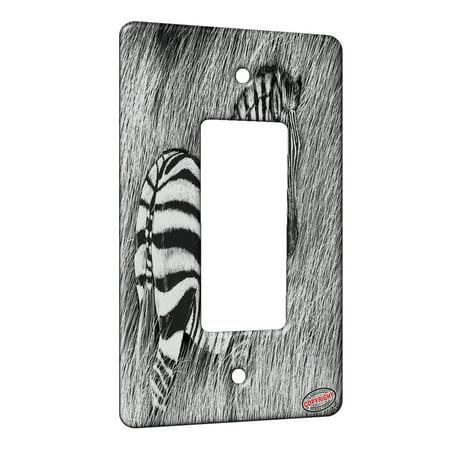 KuzmarK™ 1 Gang Rocker Wall Plate - Zebra in Tall Grass Art by Denise Every ()