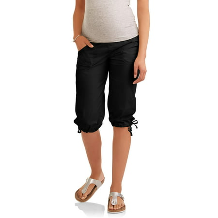 88c3ee6c1a976 Maternity Overbelly Stretch Poplin Capri Pants - Available in Plus Sizes