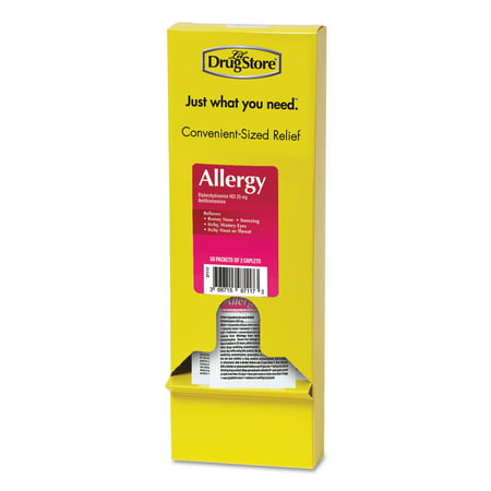 Lil' Drugstore Allergy Relief Tablets, Refill Pack, Two Tablets/Packet, 50 Packets/Box