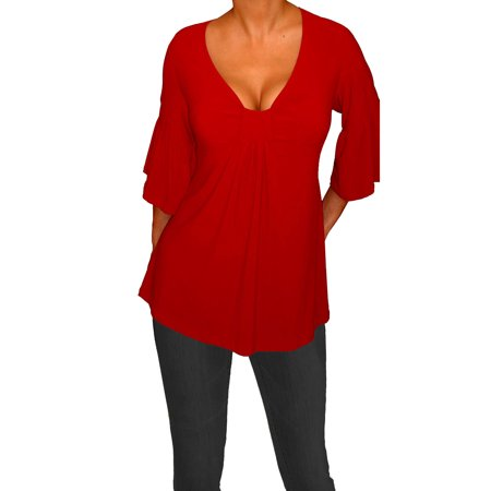 FUNFASH WOMENS PLUS SIZE EMPIRE WAIST SLIMMING RED PLUS SIZE TOP SHIRT BLOUSE (Red Tops Plus Size)