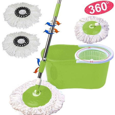 Top Knobs Microfiber Spining Magic Spin Mop w/Bucket 2 Heads Rotating 360° Easy Floor Mop Washable Plastic Handle Great Wet Or Dry Machine Washable, Green