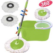 Top Knobs Spin Mop and Bucket System – 360° Self Wringing Spinning Mop with Stackable Bucket On Wheels and 2 Machine Washable Microfiber Mop Heads, Green