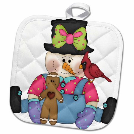 3dRose Cute Sitting Snowman Girl With Gingerbread Man and Bird - Pot Holder, 8 by - Sitting Gingerbread