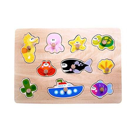 Sea Animals Floor Puzzle (Classic Ocean, Sea Animals Puzzle for Toddlers, Wooden Knob Puzzle for Kids 2 Years Old & Up)