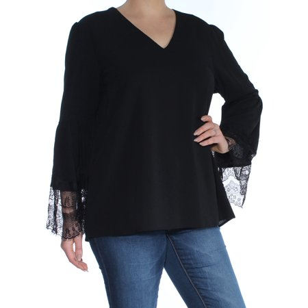 NINE WEST Womens Black Long Sleeve V Neck Top  Size: L