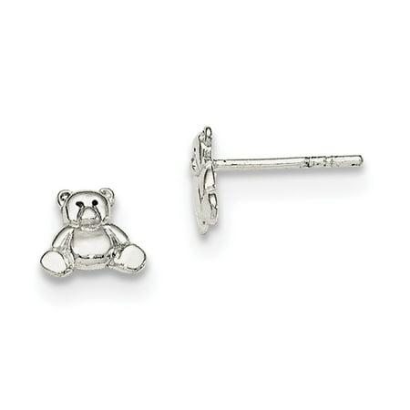Sterling Silver Polished Teddy Bear Post Earrings - .9 Grams