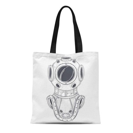 ASHLEIGH Canvas Tote Bag Antique Heavy Brass Copper Diving Helmet Line Vintage Scuba Reusable Shoulder Grocery Shopping Bags Handbag