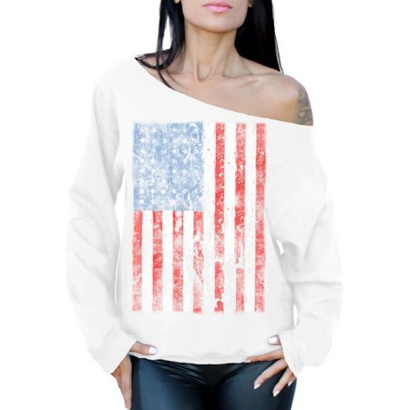 Awkward Styles Women's USA Flag Distressed Graphic Off Shoulder Tops Oversized Sweatshirt 4th of July Independence Day ()