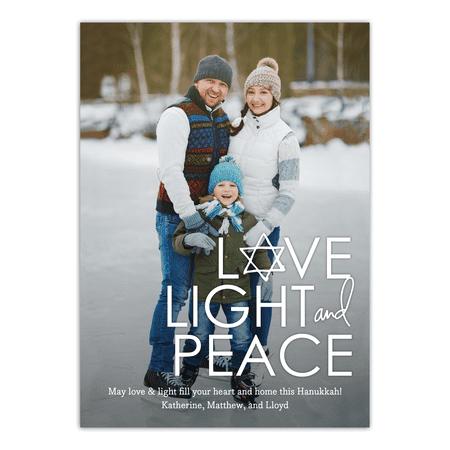 Personalized Hanukkah Holiday Photo Card - Love Light Peace ()