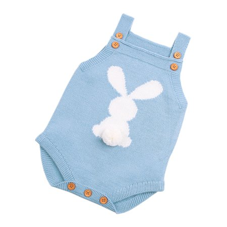 Baby Knit Rompers Clothes Toddler Jumpsuit Easter Bunny Sleeveless Outfit - Easter Bunny Baby Outfit