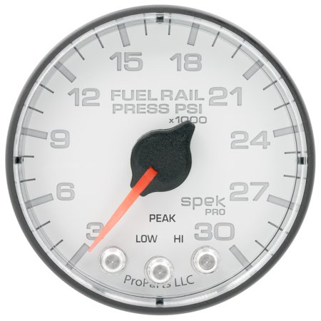 AutoMeter P321128 Spek-Pro Fuel Rail Pressure Gauge; 2-1/16 in.; White Dial Face; Fluorescent Red Pointer; 7 User Selectable Colors LED Lighting; Electric Digital Stepper Motor; 3-30K PSI; Racing Fuel Rail