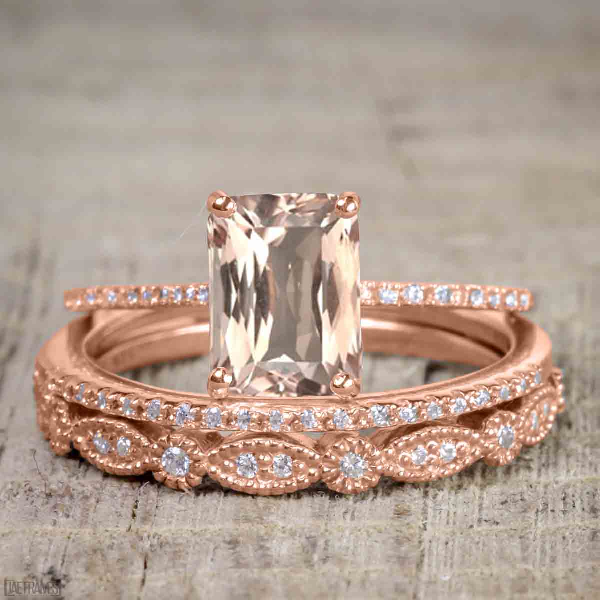 Artdeco 1.50 Carat Morganite cut Morganite and Diamond Trio Wedding Bridal Ring Set Rose Gold by JeenMata