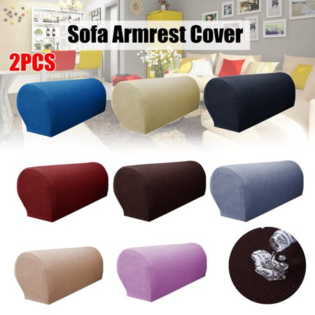 2PCS Waterproof Stretch Furniture Armrest Covers Slipcovers Sofa Chair Couch Chair Arm Protectors - 4 Colors ()