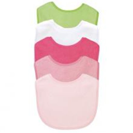 Green Sprouts Organic Terry - Green Sprouts Basic Waterproof Absorbent Terry Bib 5 Pack - Girl