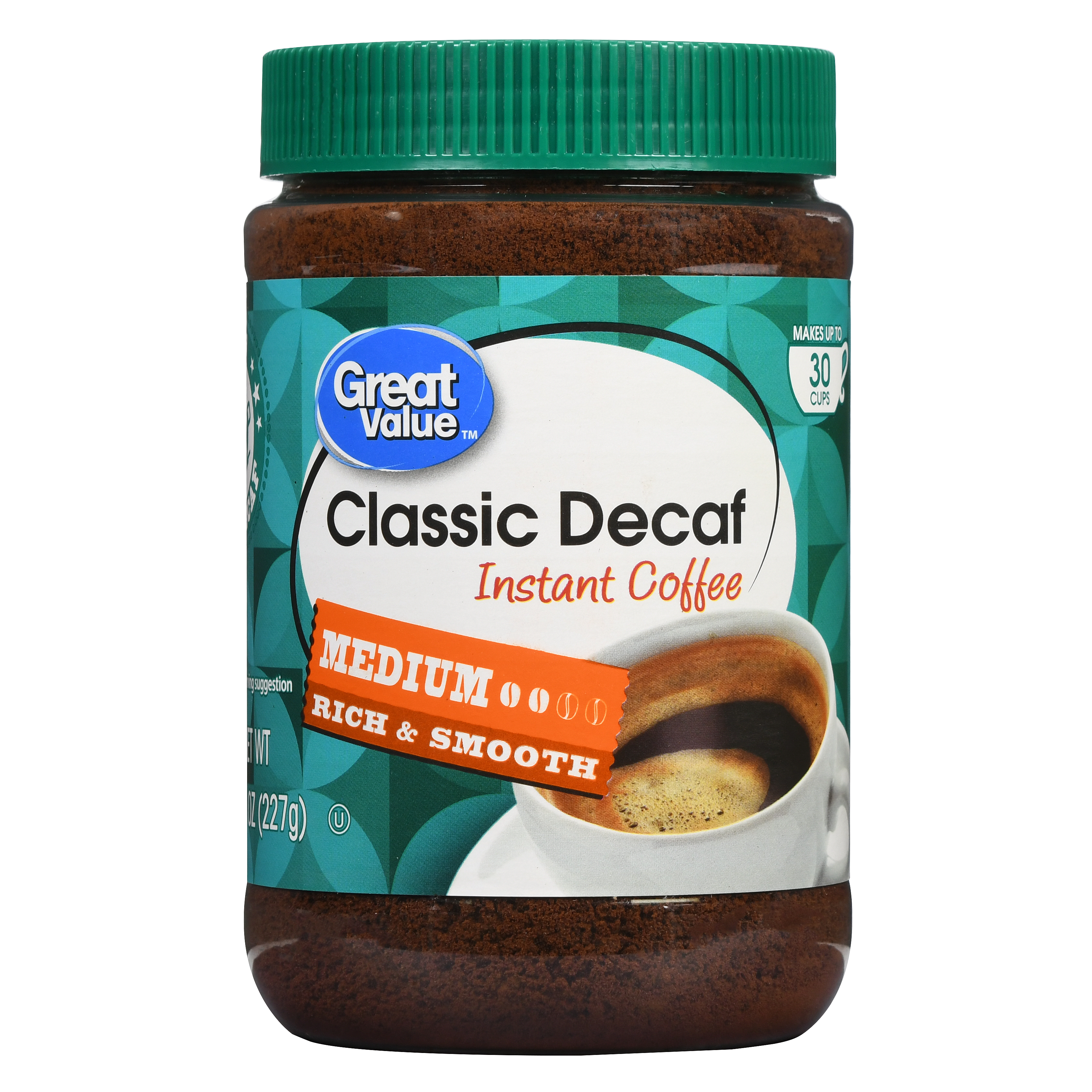 Great Value Classic Decaf Instant Coffee, Medium Roast, 8 oz