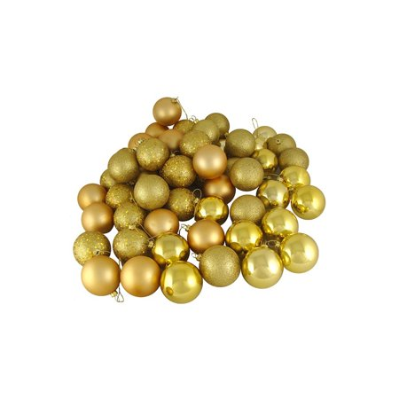 Vegas Halloween Ball (60ct Vegas Gold Shatterproof 4-Finish Christmas Ball Ornaments 2.5