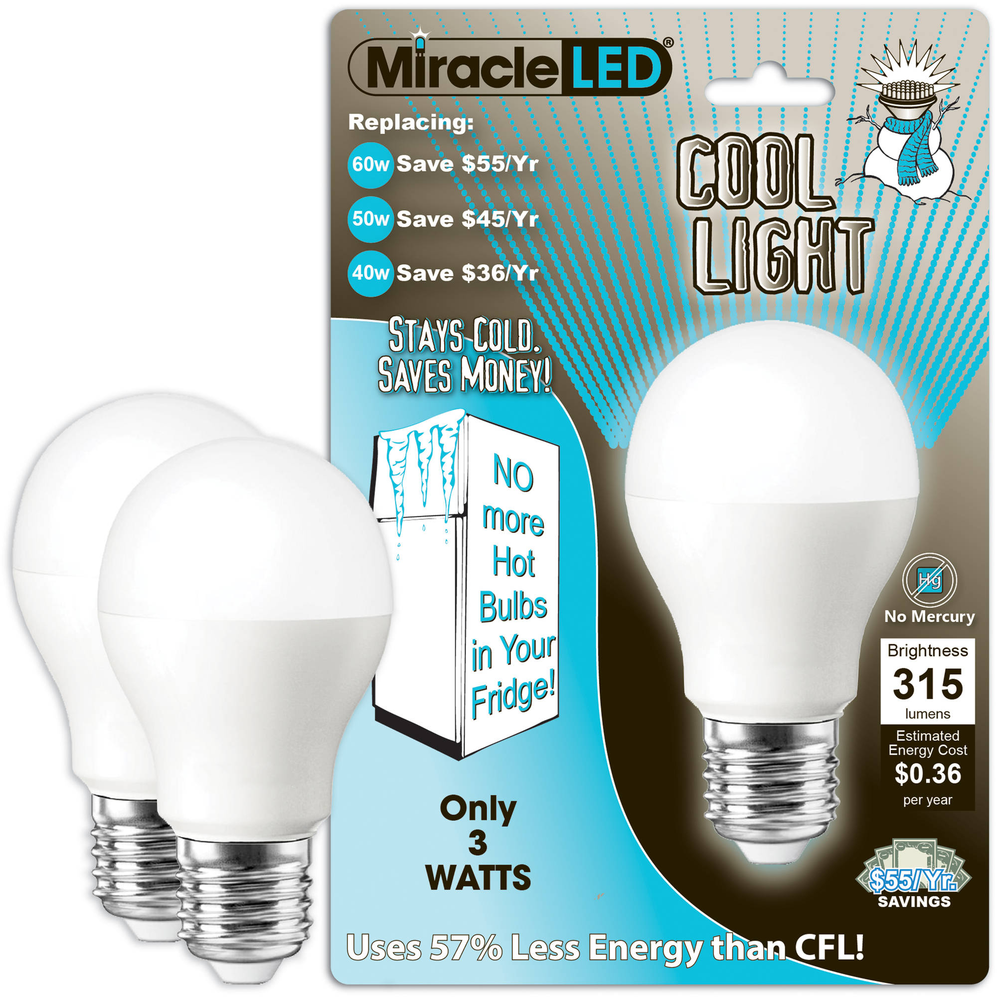 "Miracle LED ""Cool Light"" Refrigerator and Freezer LED Light Bulb, 3W (Replaces 40W), Cool White, 2-count"