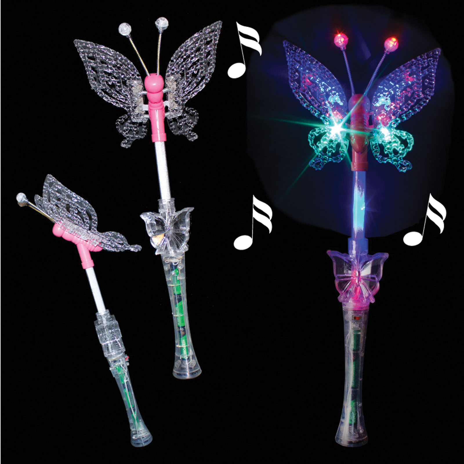 Supreme Colorful Light-Up Butterfly 18in LED Wand w Music, Pink