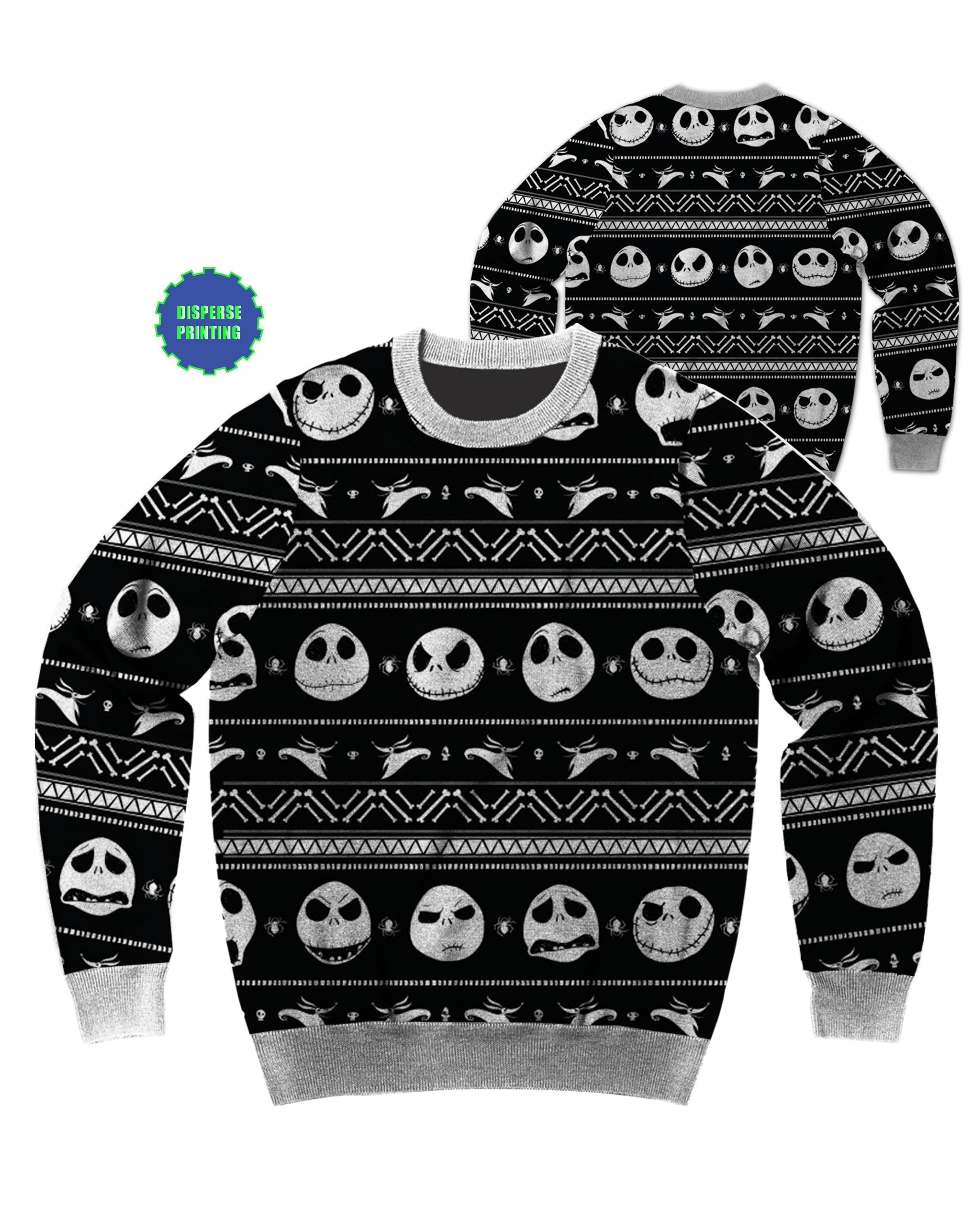 Disney Ugly Christmas Sweater.Disney Nightmare Before Christmas Patterned Jack Ugly Christmas Sweater Medium