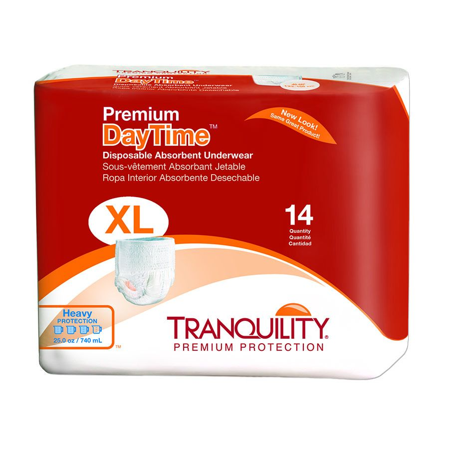 Premium DayTime Adult Disposable Absorbent Underwear X-Large 48'' - 66'' , 14 count 6 Pack