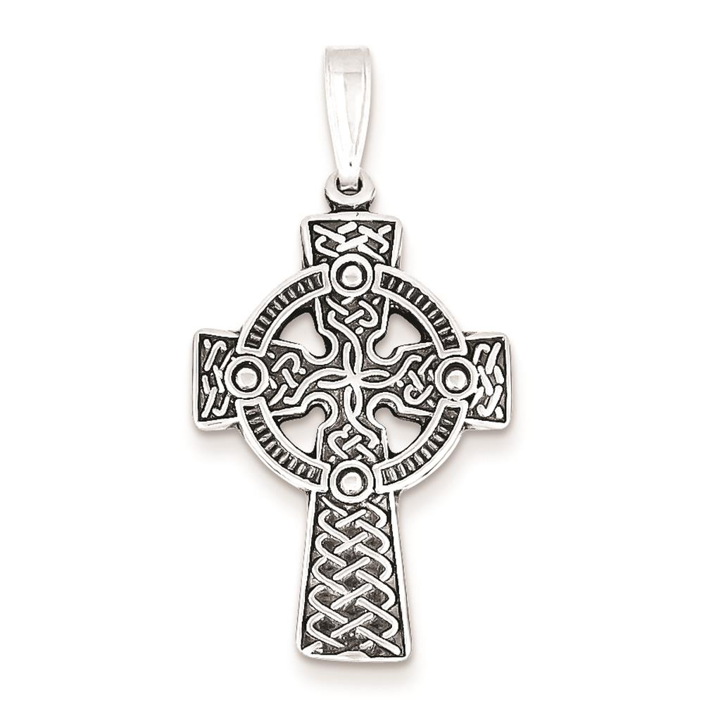 Sterling Silver Antiqued Celtic Cross Polished Charm Pendant 36mmx19mm