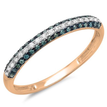 0.25 Carat (ctw) 18k Gold Round Blue & White Diamond Pave Set Wedding Band Stackable Ring 1/4