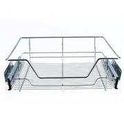 WALFRONT Kitchen Sliding Cabinet Organizer Pull Out Chrome Wire Storage Basket Drawer Home Kitchen Cabinets Silver