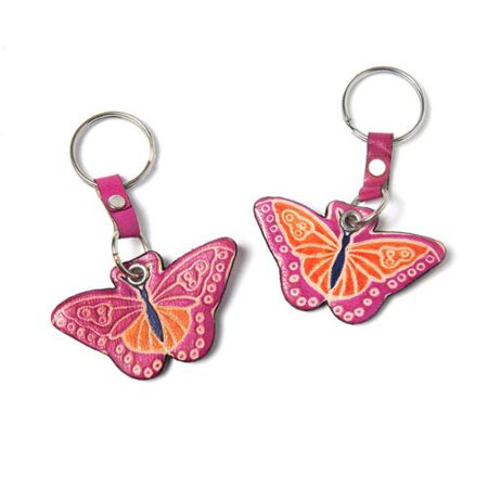 Sitara Collections Handmade Set Of Two Cruelty Free Shanti Leather Butterfly Keychains  India
