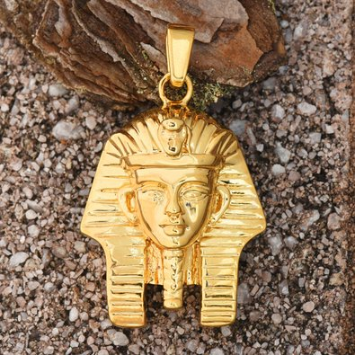 Egyptian Mummy Pharaoh Pendant 18K Yellow Gold Charm Brand New Mens (18k Gold Egyptian Cartouche)