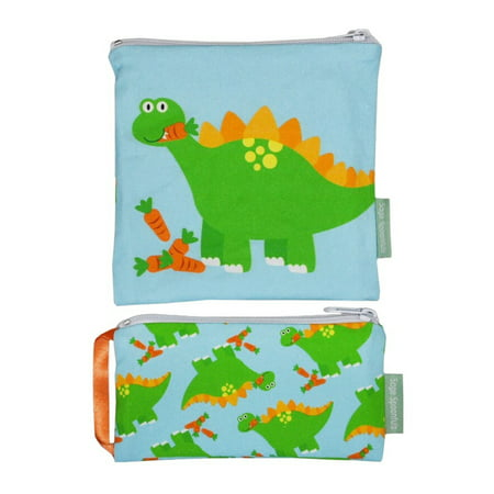 9dff716b05 Sage Spoonfuls Snackie & Munchie Set, Reusable Sandwich and Snack Bag,  Dinosaur