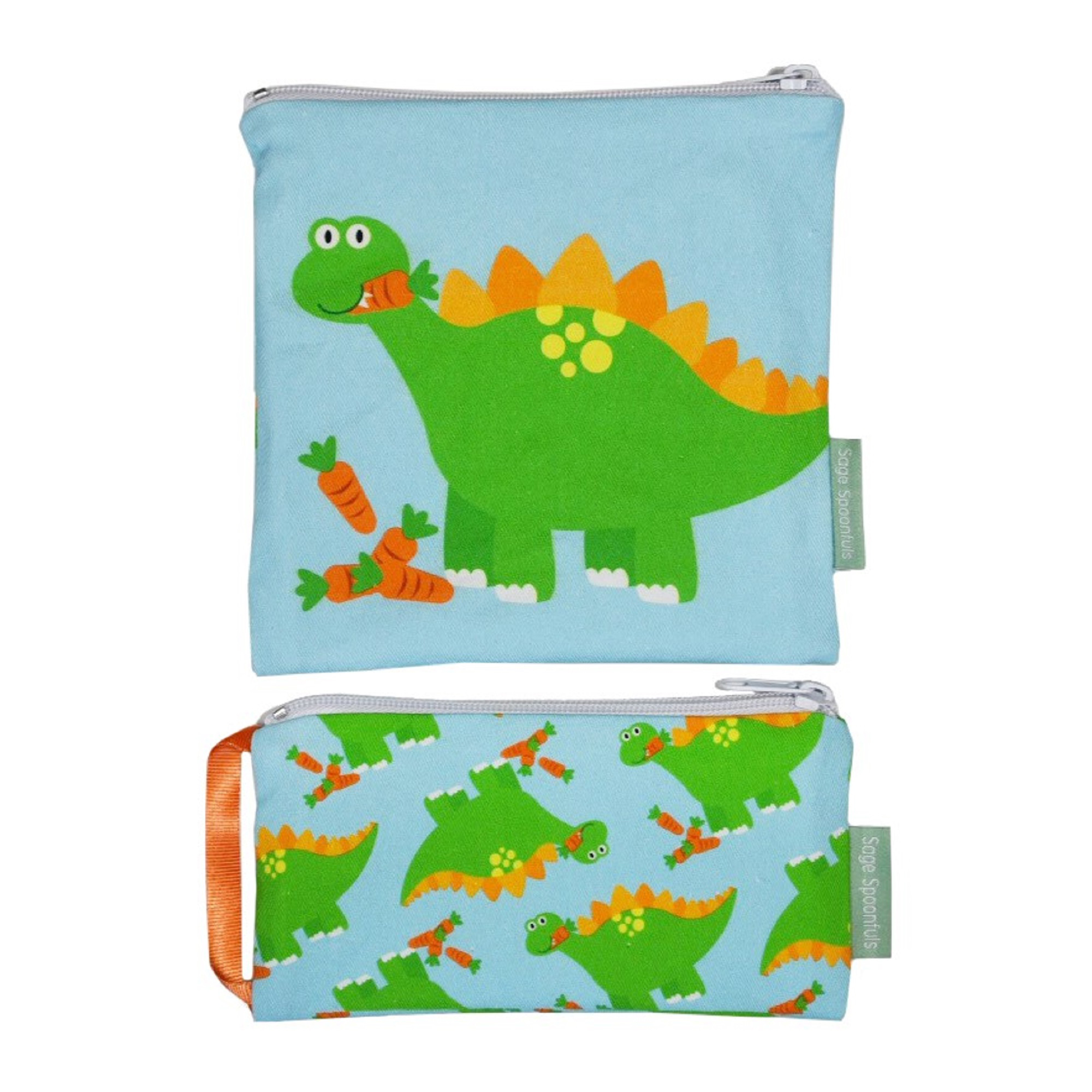 Sage Spoonfuls Snackie & Munchie Set, Reusable Sandwich and Snack Bag, Dinosaur