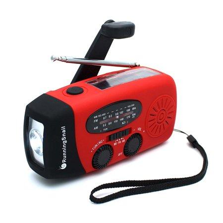 Upgraded Version Runningsnail Emergency Hand Crank Self Powered Am Fm Noaa Solar Weather Radio With Led Flashlight  1000Mah Power Bank For Iphone Smart Phone