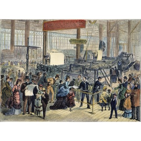 Hoe Web Printing Press Nprinting Newspapers At The Philadelphia Centennial Fair In 1876 Contemporary Engraving Rolled Canvas Art -  (24 x