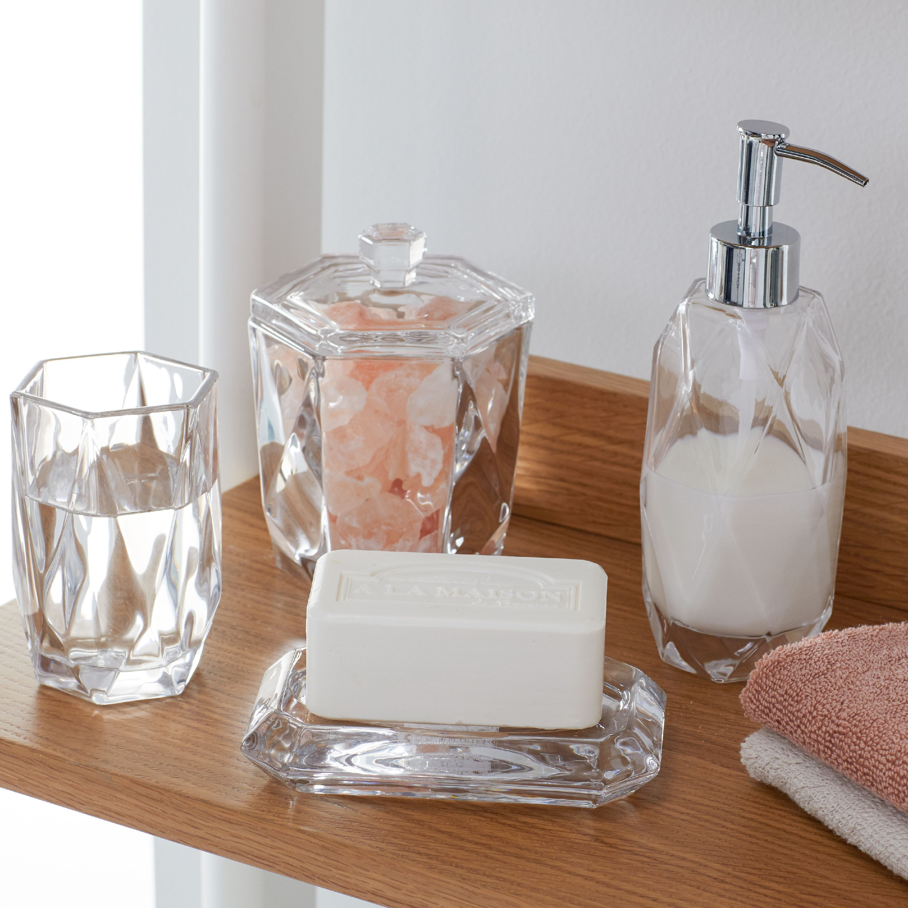 MoDRN Glam Faceted Glass Bath Accessory Set