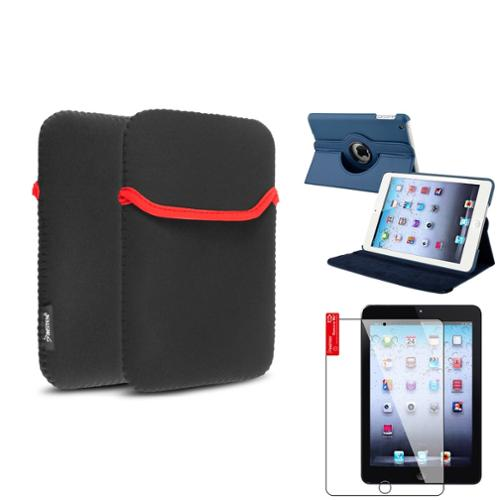 iPad Mini 3/2/1 Case, by Insten Navy Blue 360 Leather Case Cover+Protector+Pouch for iPad Mini 3 2 1