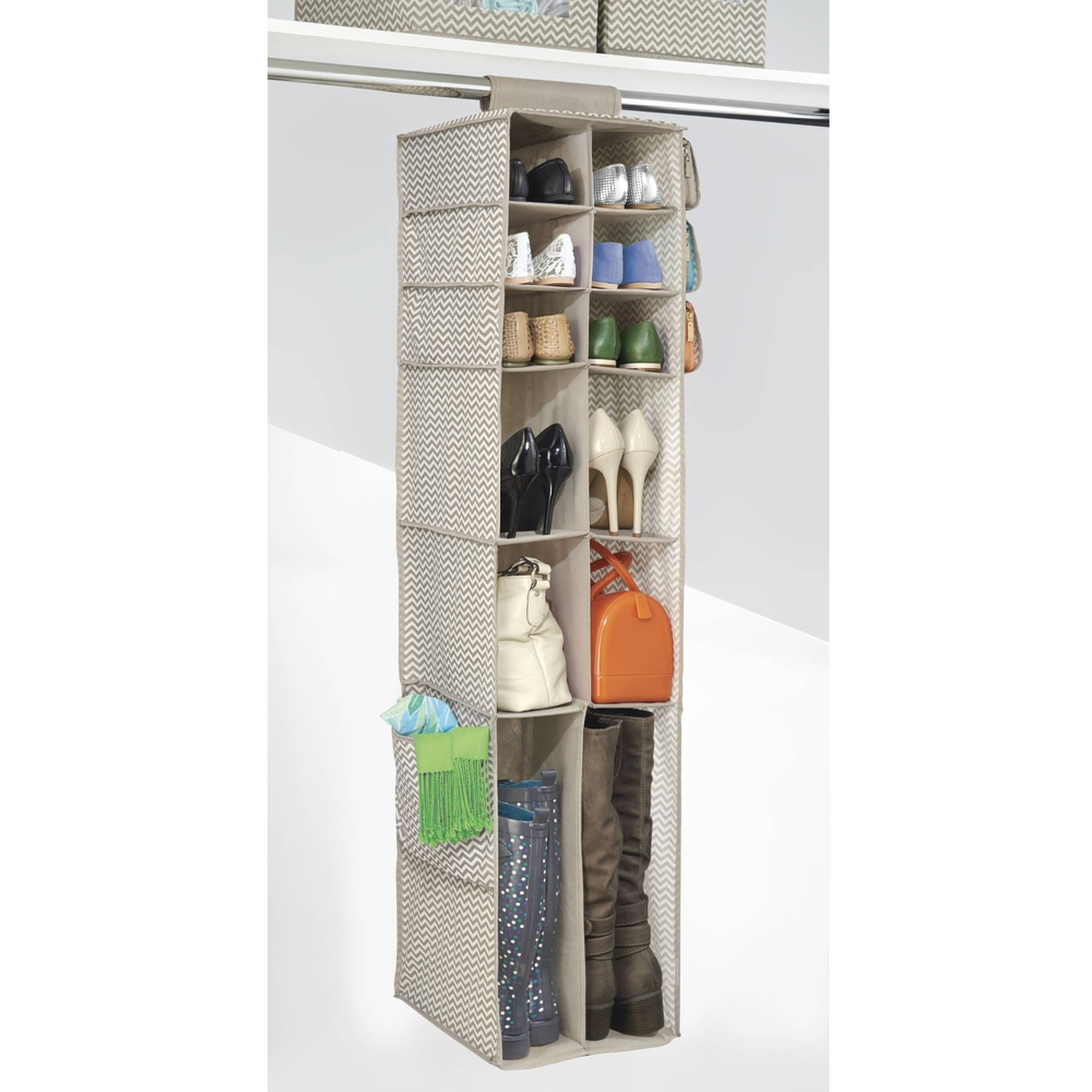 InterDesign Chevron Fabric Hanging Closet Storage Organizer, 16 Compartments, Taupe/Natural