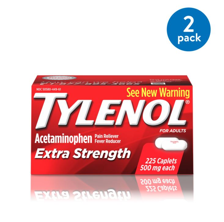 (2 Pack) Tylenol Extra Strength Caplets, Fever Reducer and Pain Reliever, 500 mg, 225 ct.