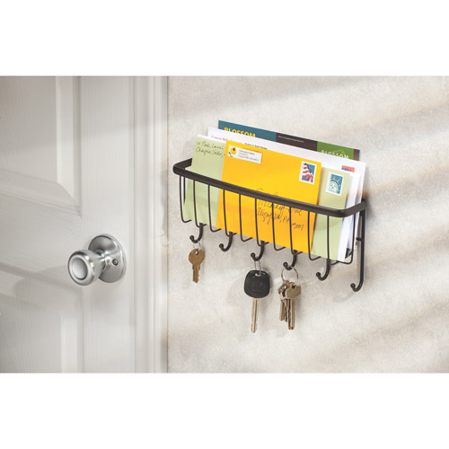 InterDesign Axis Mail, Letter Holder, Key Rack Organizer for Entryway, Kitchen, Wall Mount, Bronze