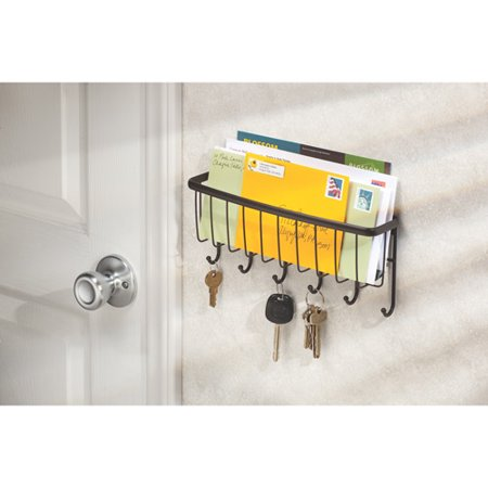 Interdesign axis mail letter holder key rack organizer for entryway kitchen wall mount - Wall mount mail and key rack ...