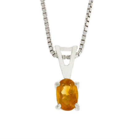 Sterling Silver Prong Set Genuine Citrine Small Oval Pendant