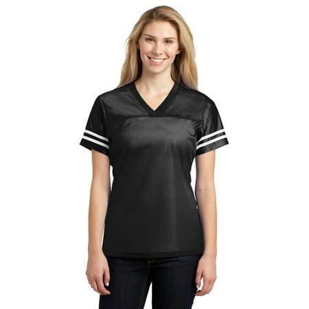 Replica Jersey T-shirt (Sport-Tek LST307 PosiCharge Women's Replica Jersey - Black/ White - XS)